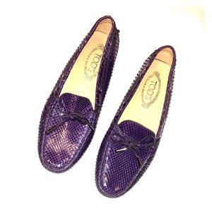 Tod's Loafer Purple Women New Leather/Python